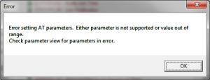 X-CTU Flash XBee Write New Flash Error setting AT parameters