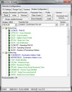 X-CTU Normal Read Modem Configuration